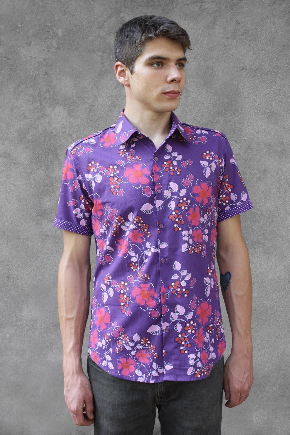 Purple Floral Shirt Short Sleeve Violet Basap