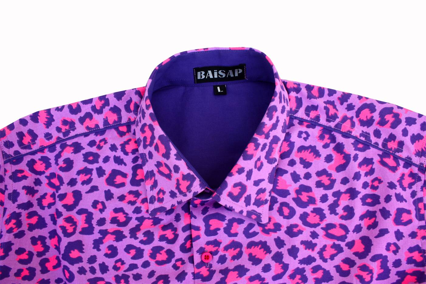 Baïsap Leopard Shirt For Men Short Sleeve Pink Dress