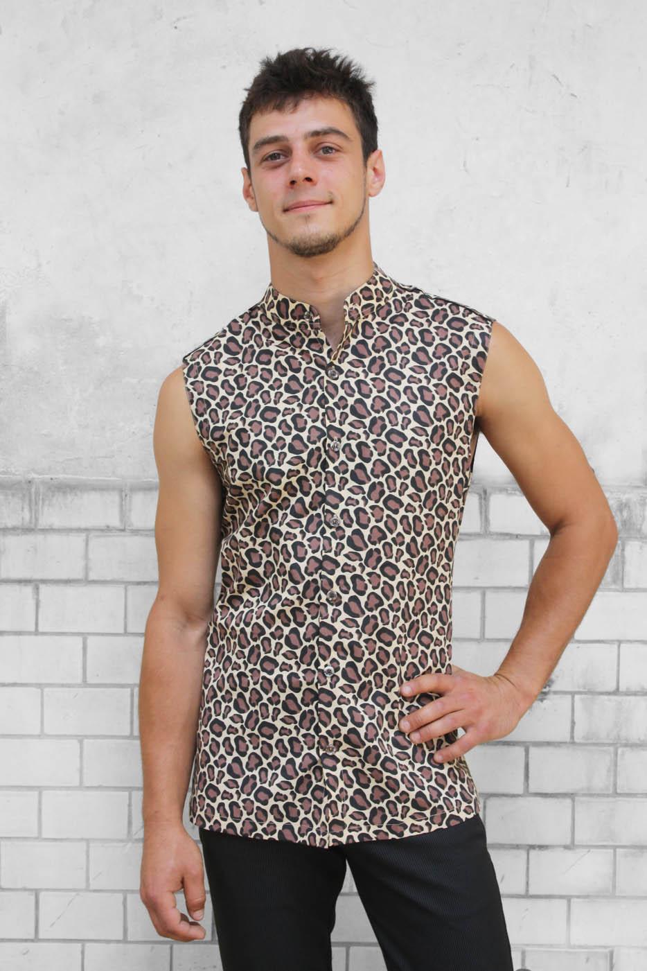 chemise sans manche leopard ba sap. Black Bedroom Furniture Sets. Home Design Ideas