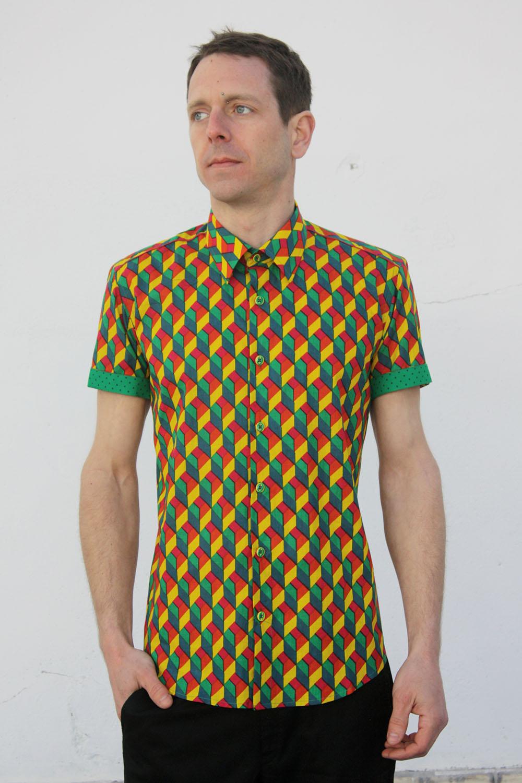 rebajas outlet 60% barato discapacidades estructurales Camisas estampadas hombre, manga corta - Arlequín
