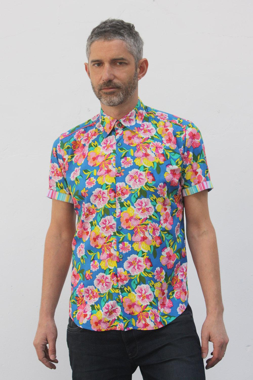 chemise homme fleur manche courte fleurs 70 39 s ba sap. Black Bedroom Furniture Sets. Home Design Ideas