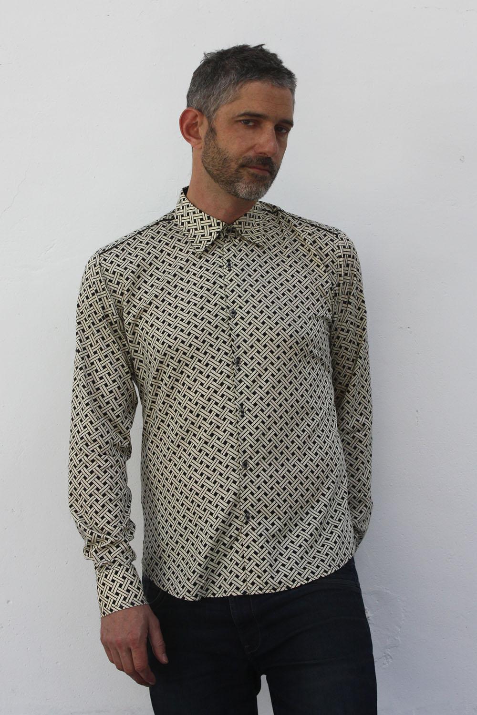 chemise homme motif cannage ba sap. Black Bedroom Furniture Sets. Home Design Ideas