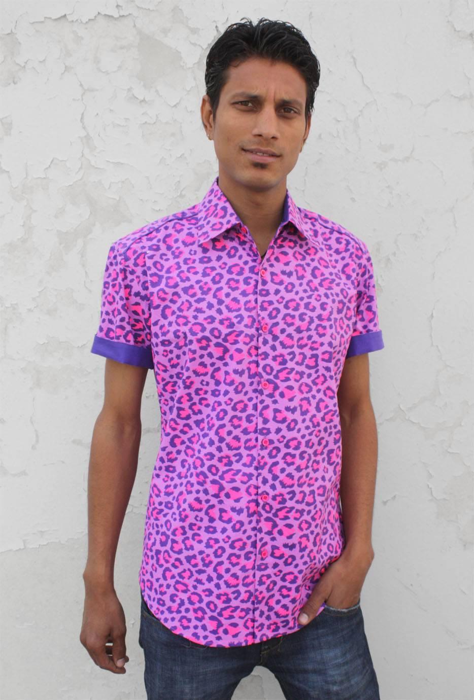 Leopard Shirt For Men Short Sleeve Pink Leopard Basap