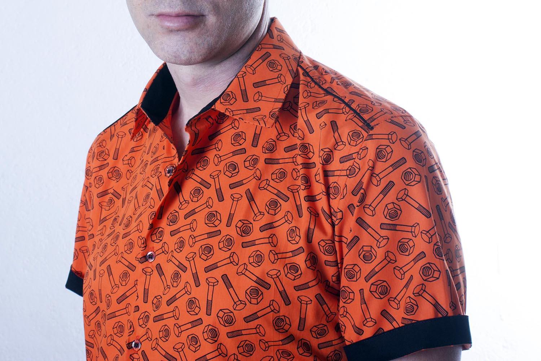 buy popular f5b87 ea8d3 Herrenhemd kurzarm orange - Schrauben